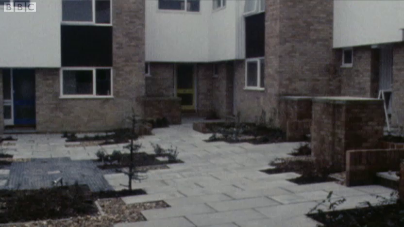 Early photo of one of the Willow Gardens courtyards.