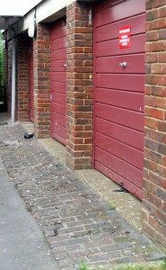 Photograph of some of the garages in the Willow Gardens.