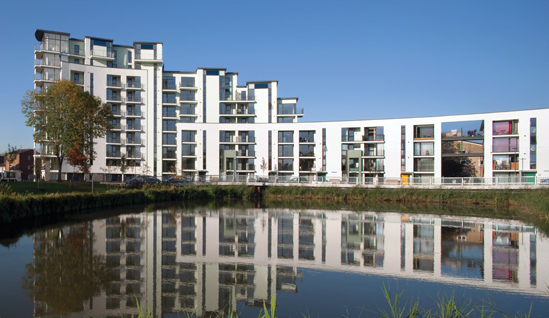 Photograph of the newly completed buildings in the New Hendon Village.