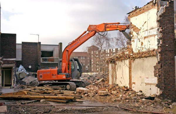 Photo of flats being demolished as part of phase 1b.