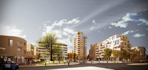Visualisation image of the New Hendon Village closest to the Willow Gardens.